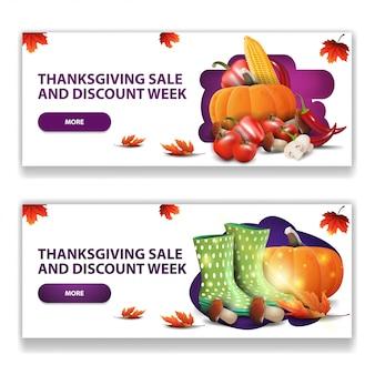Thanksgiving-verkauf und rabattwoche, zwei moderne horizontale banner für ihre künste