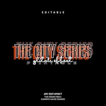 The city series orange glitch texteffekt editierbarer premium-vektor