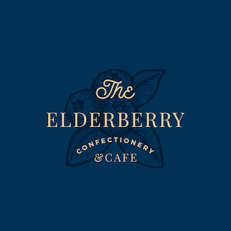 The elderberry confactionary und cafe abstract zeichen-, symbol- oder logo-vorlage. drei beeren mit blättern skizze sillhouette mit eleganter retro-typografie. vintage luxus emblem.