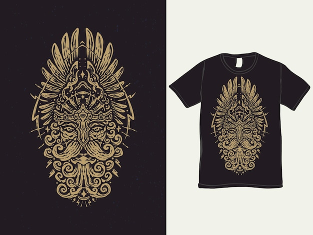 The god of war barbaren vintage-t-shirt-design