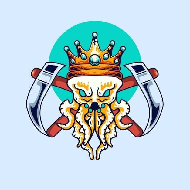 The king octopus illustration vintage modern style für t-shirt