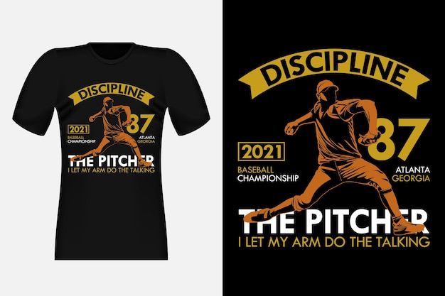 The pitcher i let my arm do the talking silhouette vintage t-shirt design