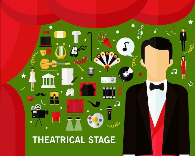 Theater bühnenkonzept hintergrund. flache symbole.