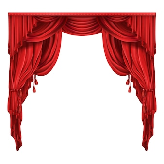 Theater Bühne rote Vorhänge realistische Vektor