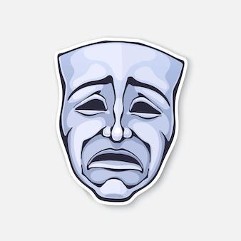 Theater-drama-maske vintage-oper-maske für tragödie-schauspieler negative emotionen vektor-illustration