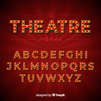 Theater glühbirne alphabet