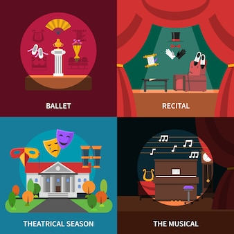 Theater konzept icons set