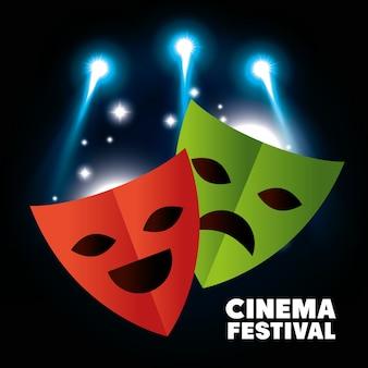 Theater maskiert festivalkinovektor-illustrationsdesign