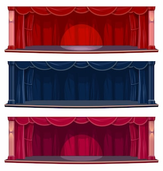 Theater- oder konzertsaalbühne mit vorhängen und vorhängen