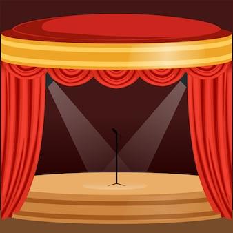 Theater- oder musikkonzertszene mit rotem vorhang, lichtern und mikrofon stehen in der mitte. holzbühne mit vorhängen und pelmets. karikatur