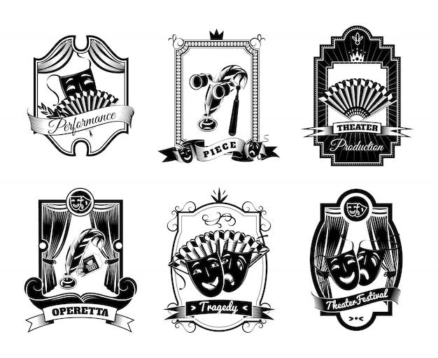 Theater schwarz weiß embleme set
