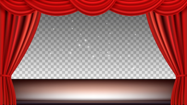 Theaterbühne. festliches hintergrundopernfilmopernlicht mit roten seidenvorhängen. realistische vorhänge und bühne isoliert auf transparentem hintergrund.