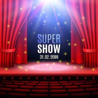 Theaterbühne mit suchscheinwerfer und lichtern. podium. konzerthalle. plakat für die show.