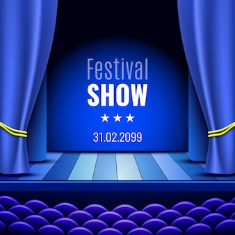 Theaterbühne mit vorhang. podium. plakat für die show.