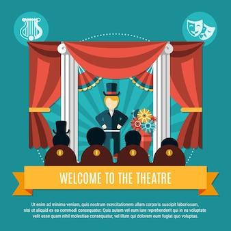 Theaterfarbenes konzept mit willkommen zur theaterüberschrift auf gelber großer bandvektorillustration