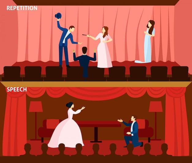 Theaterleistung 2 flache fahnenzusammensetzung