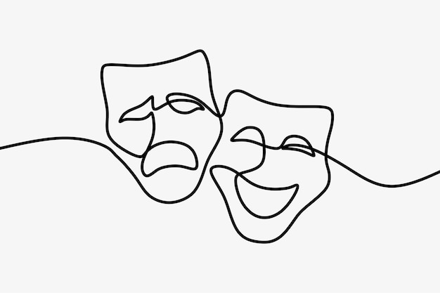 Theatermaskentragödie und humor einzeilige fortlaufende strichzeichnungen