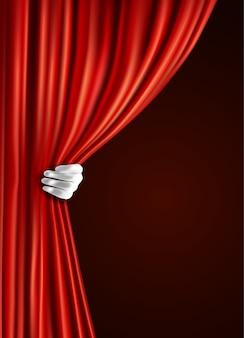 Theatervorhang mit der hand