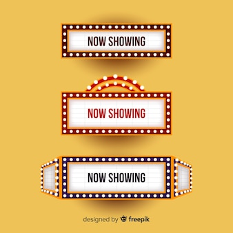 Theaterzeichen mit lichtern für schauspieltitel