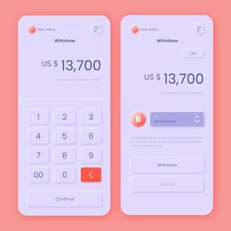 Thema der banking-app-oberfläche