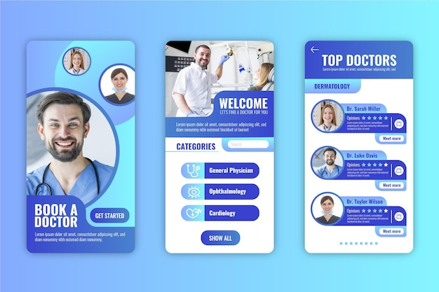 Thema der medizinischen buchungs-app-oberfläche