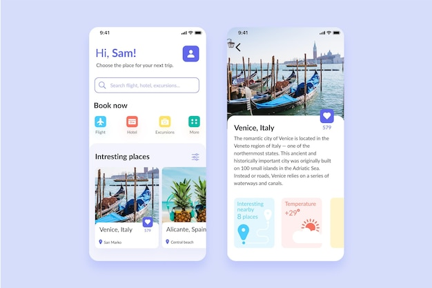 Thema der reisebuchungs-app