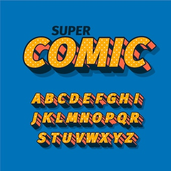 Thema des komischen alphabetes 3d