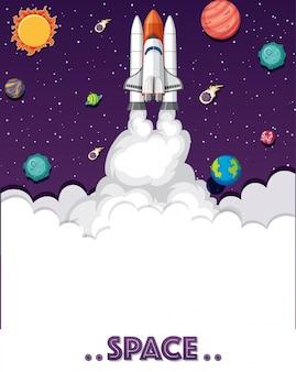 Thema des weltraums mit raketenschiff und vielen planeten
