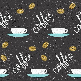 Thema kaffee. doodle handgemachte skizze kaffeetasse nahtlose hintergrund. handgezeichnete kaffeebuchstaben. goldene textur.