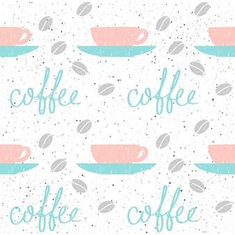 Thema kaffee. doodle handgemachte skizze kaffeetasse nahtlose hintergrund. handgezeichnete kaffeebuchstaben.