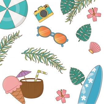 Thema sommer und urlaub, sonnenbrille, kamera, eis