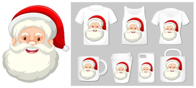 Thema weihnachten mit dem weihnachtsmann auf produktvorlagen