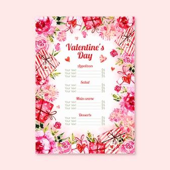 Thematisches menükonzept für valentinstag
