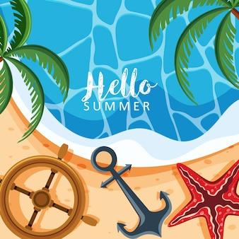 Themenorientierter hintergrund des sommers mit palmen und anker
