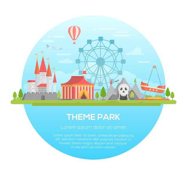 Themenpark - moderne vektorillustration in einem runden rahmen mit platz für text. verschiedene attraktionen, bäume, karussells, schloss, horror, heißluftballon und flugzeug am himmel. unterhaltungskonzept