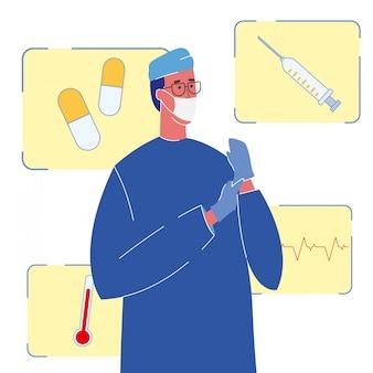 Therapeut in der einheitlichen farbvektor-illustration