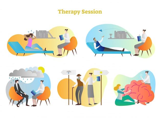 Therapiesitzungsvektor-illustrationssammlung