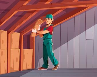 Thermische oder akustische Dämmung des Gebäudes, Wärmeverlust der Wohnung, die die Karikatur minimiert