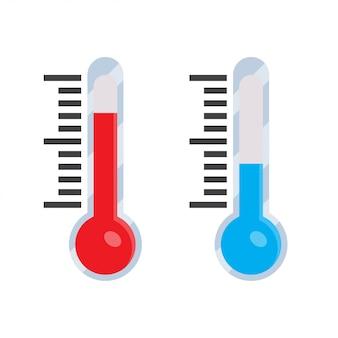 Thermometer-symbol in einem flachen stil