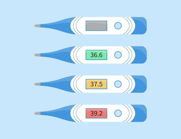 Thermometer zur messung der körpertemperatur elektronisches gerät sammlung medizinischer geräte
