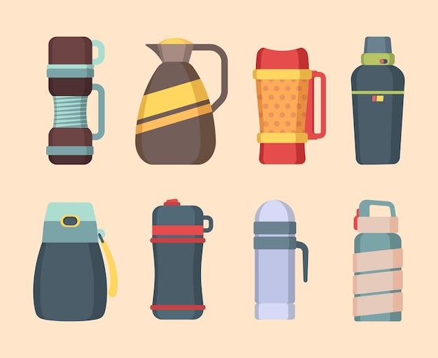 Thermosflasche. stahlbecher und thermoskanne für wasser- oder flüssigkeitsbehälterflaschen für kaffee- und lebensmittelvektorflachbilder. abbildung edelstahl thermoskanne, thermo-vakuumflasche, vakuum-flaschenbehälter