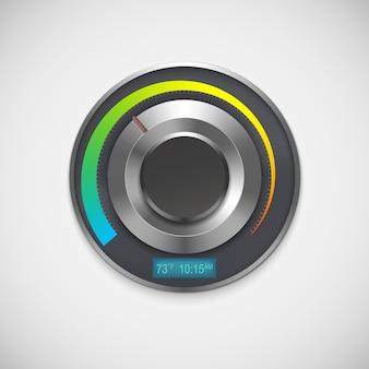 Thermostat mit indikatoren fahrenheit, lokalisiert auf weißem hintergrund.