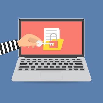 Thief-hacker-lock-ordner für lösegeld