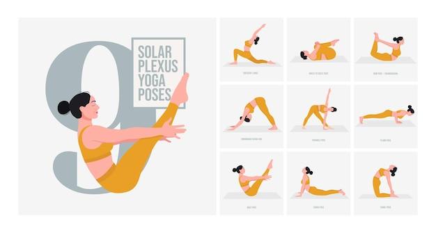 Third eye chakra yoga-posen junge frau, die yoga-posen praktiziert