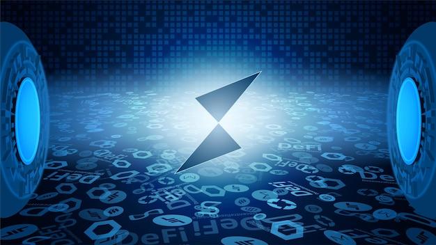 Thorchain rune-tokensymbol des defi-systems, das in den lichtstrahlen leuchtet. symbol für das logo der kryptowährung. dezentrale finanzierungsprogramme. vektor-eps10.