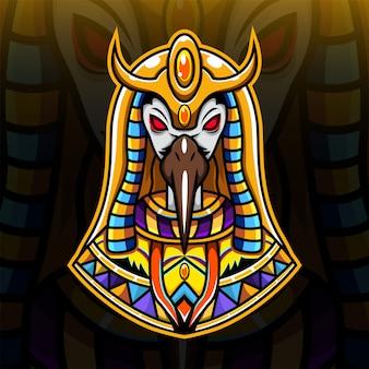 Thoth kopf esport maskottchen logo
