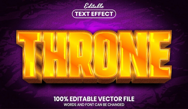 Throntext, bearbeitbarer texteffekt im schriftgoldstil Premium Vektoren