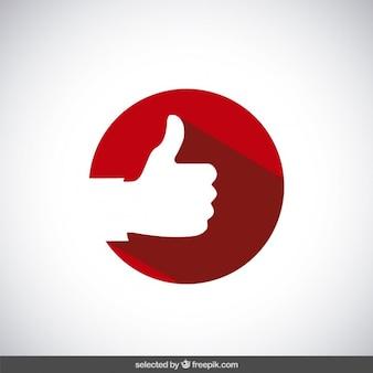 Thumb up auf den roten kreis