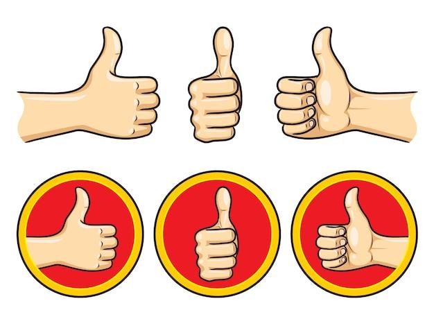 Thumb up cartoon gesetzt