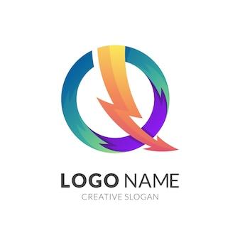 Thunder-logo mit pfeil-design-kombination, power und farbenfrohen logos
